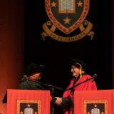 University of Waikato Chancellor Sir Anand Satyanand (left) awards the honorary doctorate to Rt Honourable James Bolger ONZ (right)