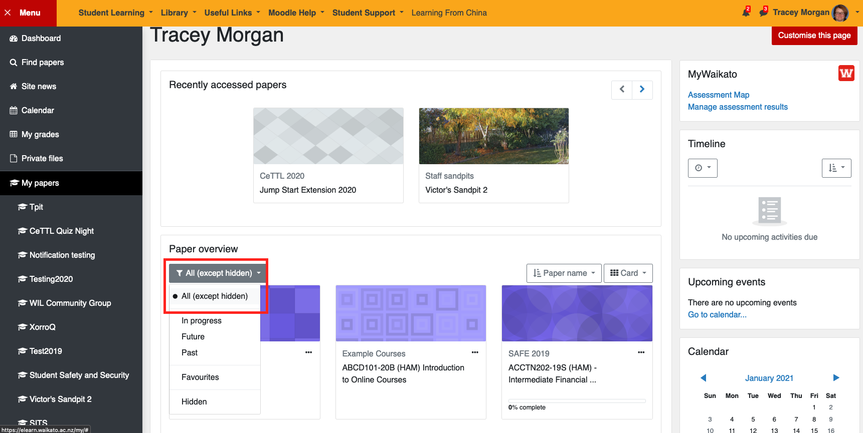 Moodle dashboard showing the drop down menu wuth All except hidden selected