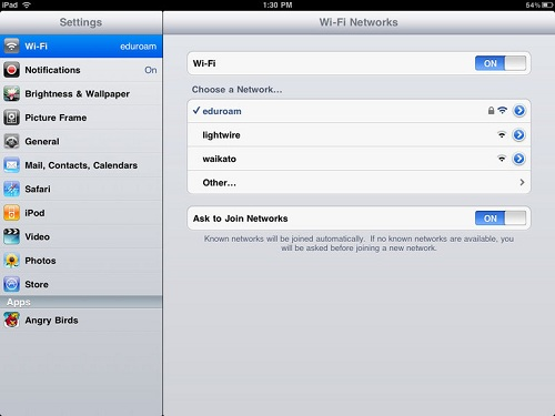 ipad eduroam connected