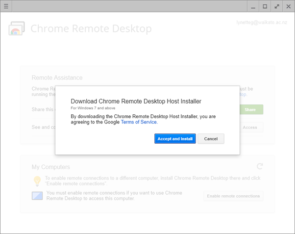 Chrome Remote Desktop - ICT Self Help : University of Waikato
