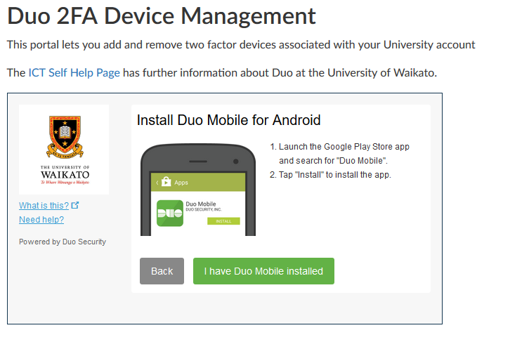 Two-Factor Authentication - ICT Self Help : University of Waikato