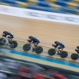 The Women's Pursuit Team on the track