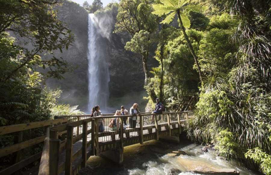 people looking at waterfall