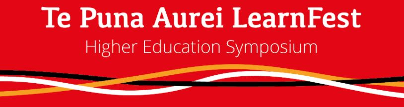 Learnfest red banner - higher education symposium with wavy logo