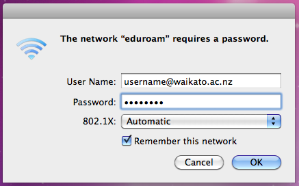 osx authenticate