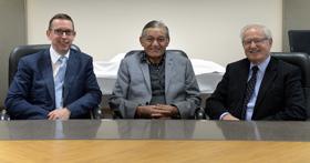 Vice-Chancellor Professor Neil Quigley, Kingi Tuheitia and Chancellor Rt Hon Jim Bolger.