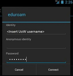 how to connect to uow internet on android phone