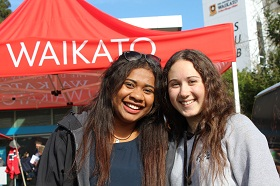 Ana Bati, left, and Taylor Smith enjoying the atmosphere at Open Day.