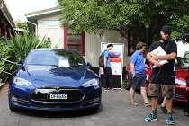 Off gas: One of seven electric vehicles on display at the University of Waikato. This Tesla can cover 400kms on a single charge.