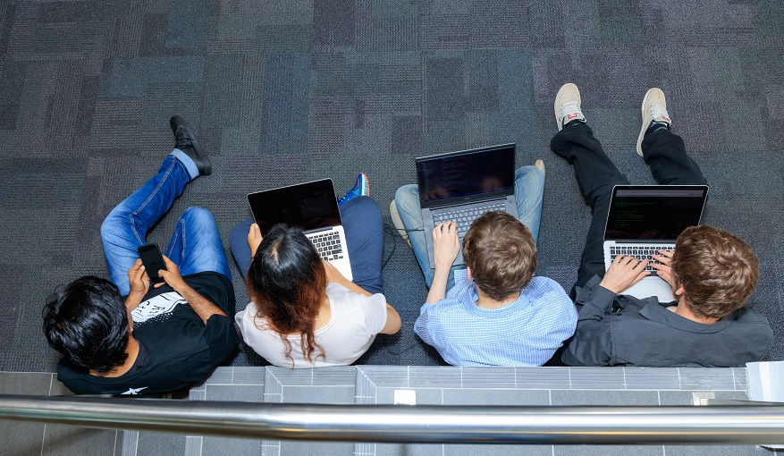 Computer Science students using laptops