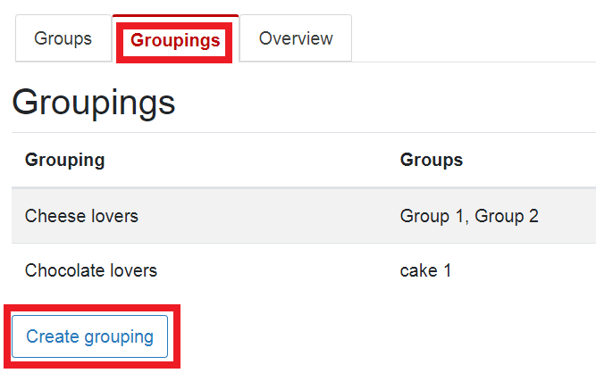 create grouping