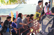 Group entering the Wharekai