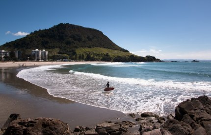 The Mount beach in Tauranga on a sunny day