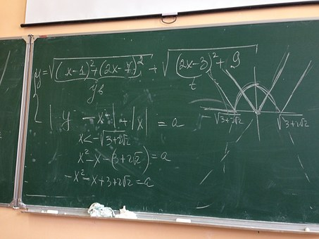 green blackboard with white chalk showing calculations and graphs