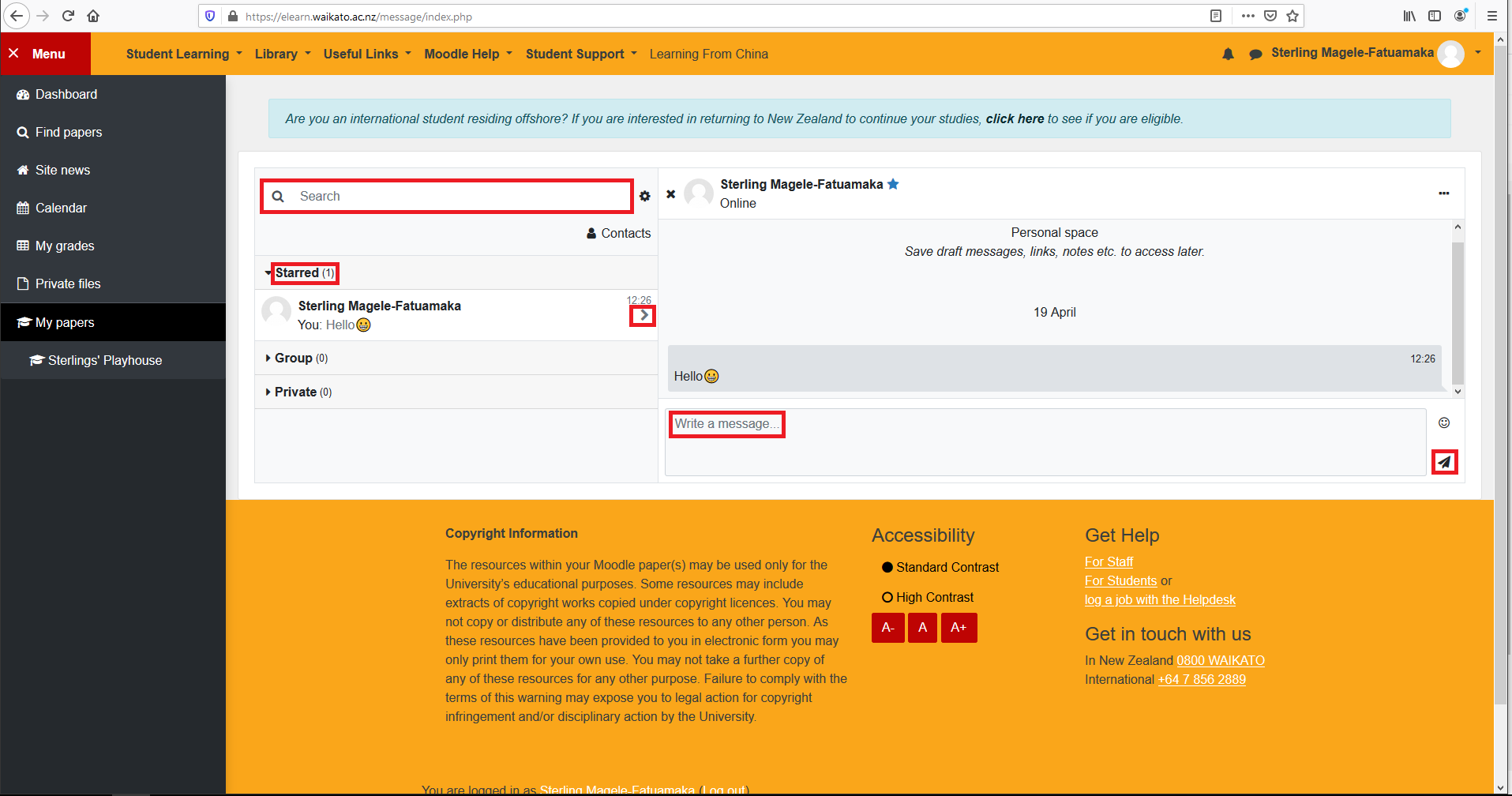 Image of Moodle Message system