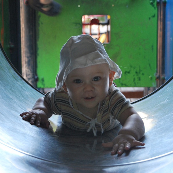 boy in slide