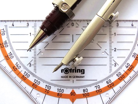 protractor and pair of compasses