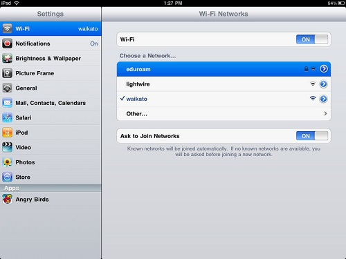 ipad eduroam choose