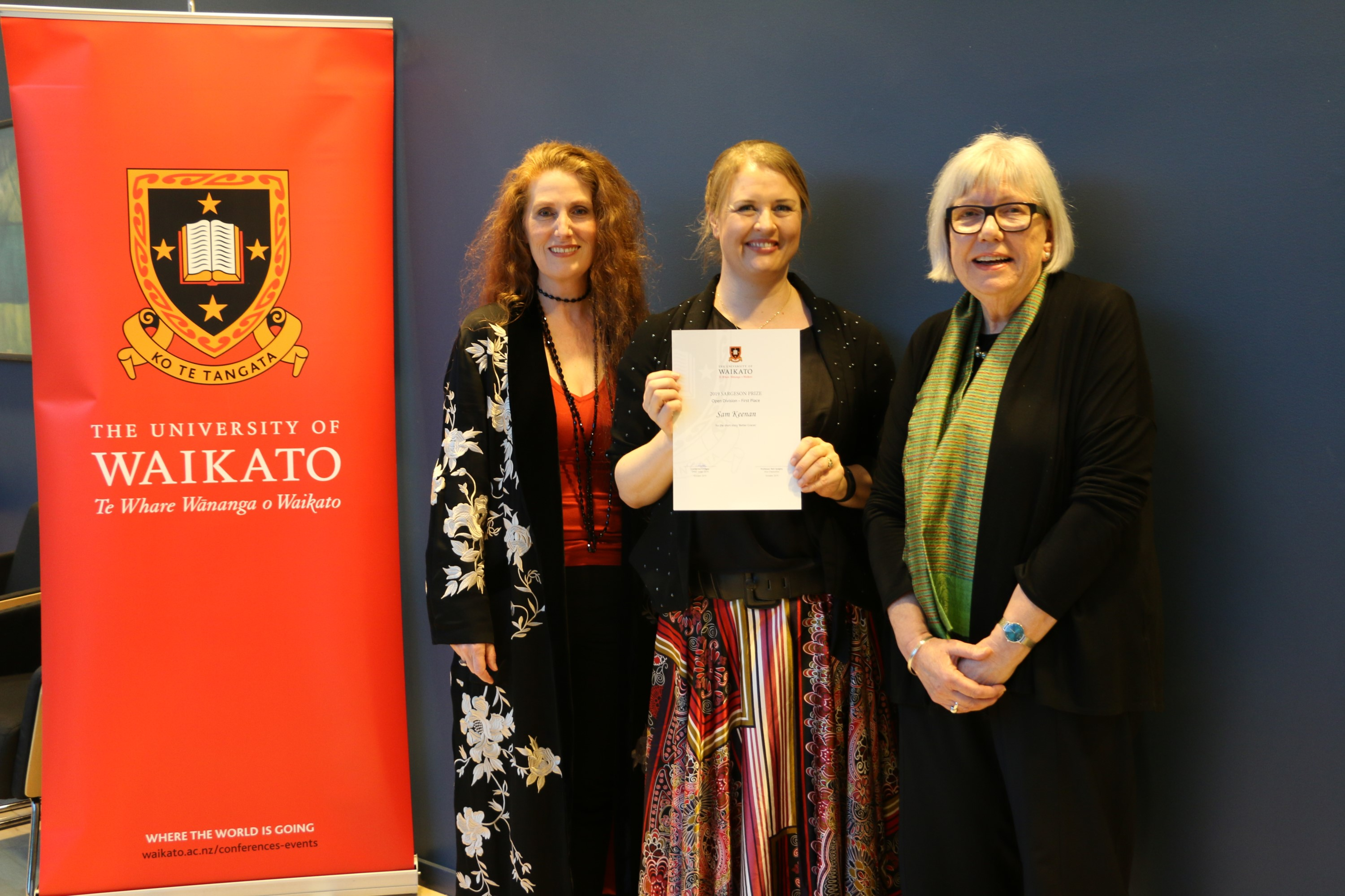L to R: Judge Catherine Chidgey, Open Division Winner Sam Keenan, and University of Waikato Pro Vice-Chancellor Allison Kirkman