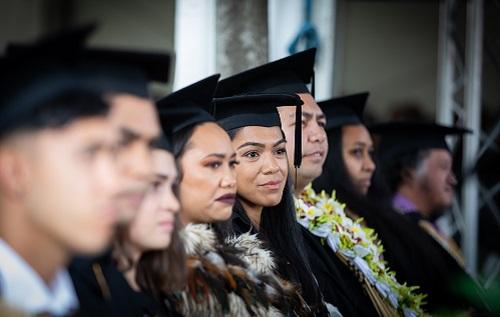Students at the marae graduation on Friday