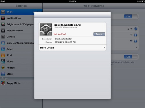 ipad eduroam verify