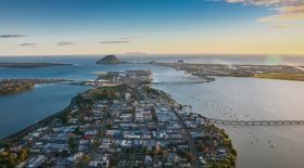 Photo of Tauranga city from above.