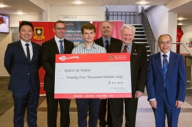 L-R, University of Waikato's Head of Cyber Security Dr Ryan Ko, Vice-Chancellor Professor Neil Quigley, scholarship winner Sjoerd de Feijter, FCMS Dean Professor Geoff Holmes, Sir William Gallagher and FCMS Deputy Dean Associate Professor Joe Stephen.