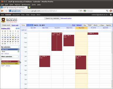 calendar listed