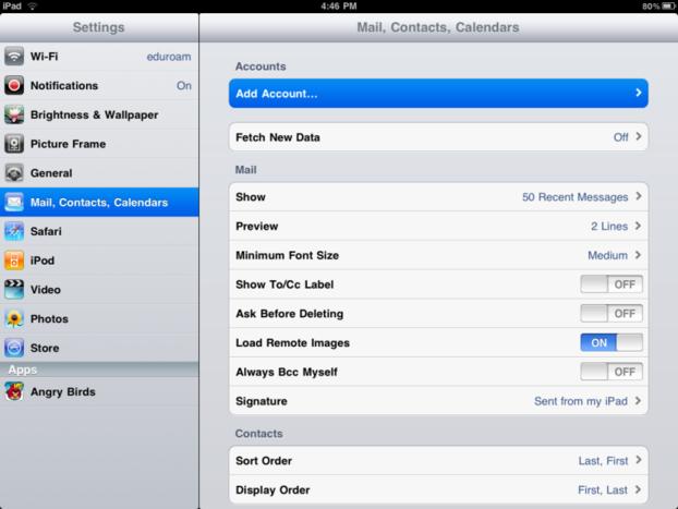 iPad Add Account