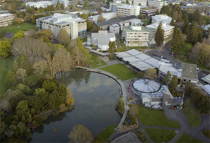 Arial shot of Waikato campus