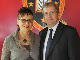 New Emeritus Professor Sue Middleton with Vice-Chancellor Roy Crawford