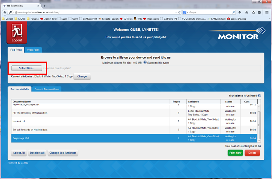 webprint change options