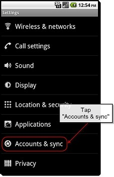 Android Sync Account